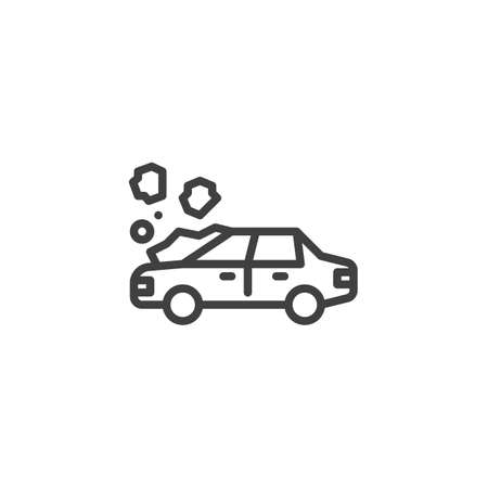 Car crash line icon. linear style sign for mobile concept and web design. Car accident outline vector icon. Symbol, illustration. Vector graphics