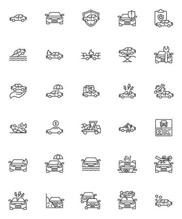 Car insurance line icons set. Auto accident linear style symbols collection, outline signs pack. vector graphics. Set includes icons as car towing truck, assurance certificate, disaster insurance