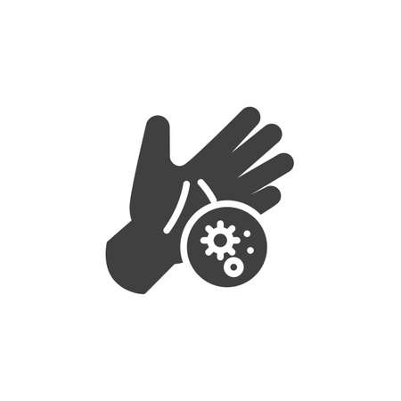 Wash your hands vector icon. Coronavirus prevention filled flat sign for mobile concept and web design. Hand and bacteria virus glyph icon. Symbol, illustration. Vector graphics