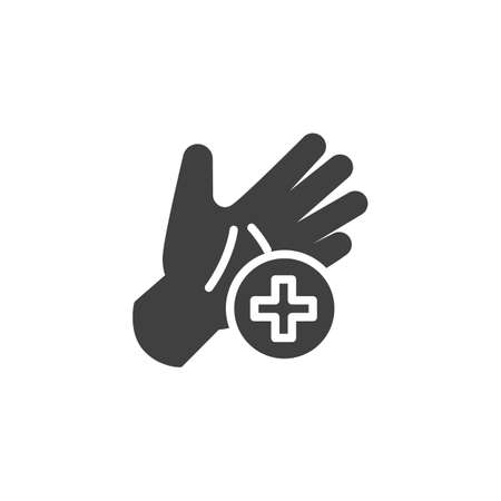 Use hand sanitizer vector icon. filled flat sign for mobile concept and web design. Hand and medical cross glyph icon. Symbol, illustration. Vector graphics