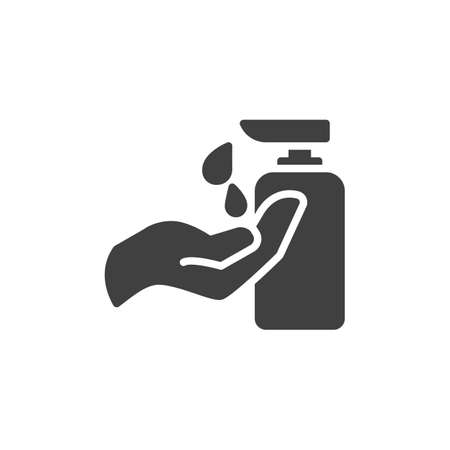 Hand and sanitizer gel bottle vector icon. filled flat sign for mobile concept and web design. Hand with Liquid soap glyph icon. Symbol, illustration. Vector graphics