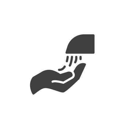 Hand and sanitizer gel bottle vector icon. filled flat sign for mobile concept and web design. Hand with Liquid soap glyph icon. Symbol, illustration. Vector graphics Ilustração Vetorial
