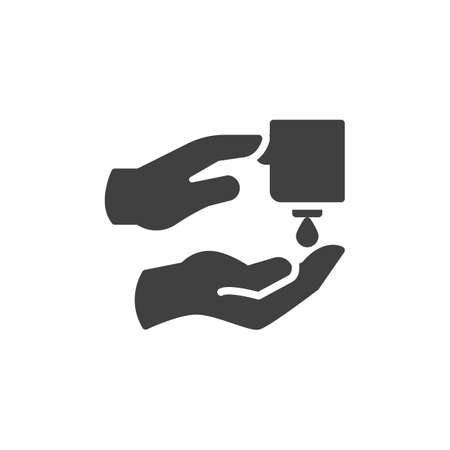 Hand push sanitizer gel vector icon. filled flat sign for mobile concept and web design. Hand washing with liquid soap glyph icon. Coronavirus prevention symbol, illustration. Vector graphics Ilustracja