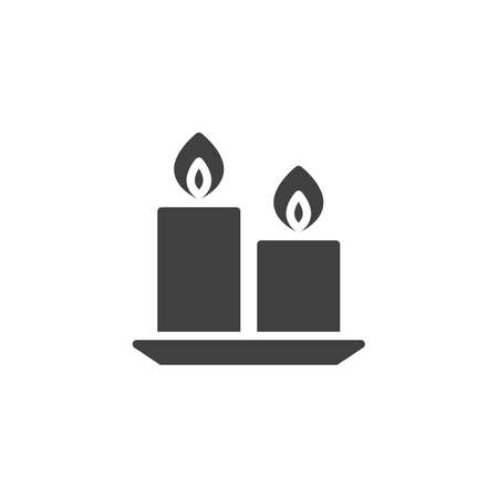Two candle on saucer vector icon. filled flat sign for mobile concept and web design. Burning candles glyph icon. Spa salon symbol illustration. Vector graphics Ilustracja