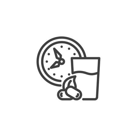 Iftar time line icon. linear style sign for mobile concept and web design. Clock with water glass and dates outline vector icon. Symbol, logo illustration. Vector graphics