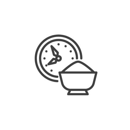 Time for Iftar line icon. linear style sign for mobile concept and web design. Clock and iftar food outline vector icon. Symbol, logo illustration. Vector graphics Vectores