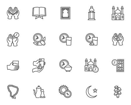 Ramadan Kareem line icons set. linear style symbols collection, outline signs pack. vector graphics. Set includes icons as iftar food, praying time, mosque building, prayer hands with rosary, lantern