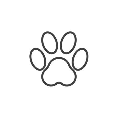 Paw Print line icon. linear style sign for mobile concept and web design. Animal paw outline vector icon. Symbol, logo illustration. Vector graphics