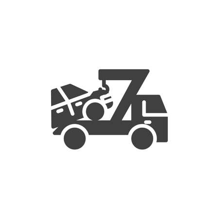 Car towing truck vector icon. filled flat sign for mobile concept and web design. Auto towing glyph icon. Symbol, logo illustration. Vector graphics