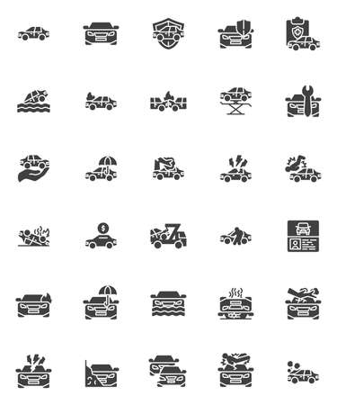 Car insurance vector icons set, modern solid symbol collection, Auto accident filled style pictogram pack. Signs, logo illustration. Set includes icons as assurance certificate, disaster insurance