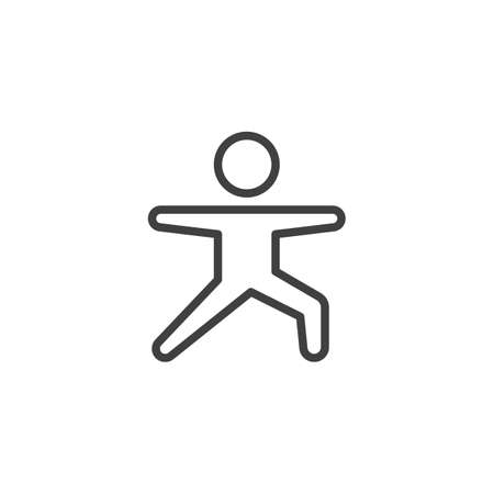 Aerobic exercise line icon. linear style sign for mobile concept and web design. Yoga practice, warrior pose outline vector icon. Symbol, logo illustration. Vector graphics