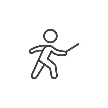 Fencing sport line icon. linear style sign for mobile concept and web design. Fencer man outline vector icon. Symbol, logo illustration. Vector graphics Illustration