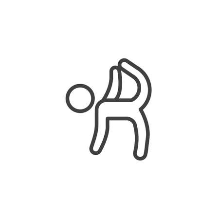 Stretching exercise line icon. linear style sign for mobile concept and web design. Rhythmic gymnastic exercise outline vector icon. Symbol, logo illustration. Vector graphics Иллюстрация