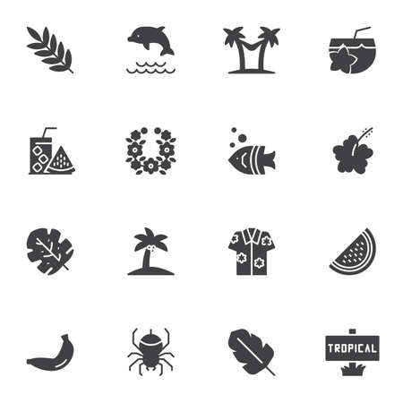Tropical vacation vector icons set, modern solid symbol collection, filled style pictogram pack. Signs, logo illustration. Set includes icons as palm tree beach, fresh lemonade, watermelon, cocktail