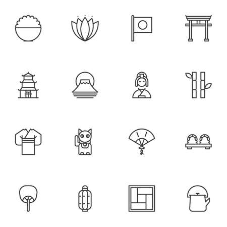 Japanese culture line icons set, outline vector symbol collection, linear style pictogram pack. Signs, logo illustration. Set includes icons as geisha kimono, sushi roll, torii gate, flag of Japan