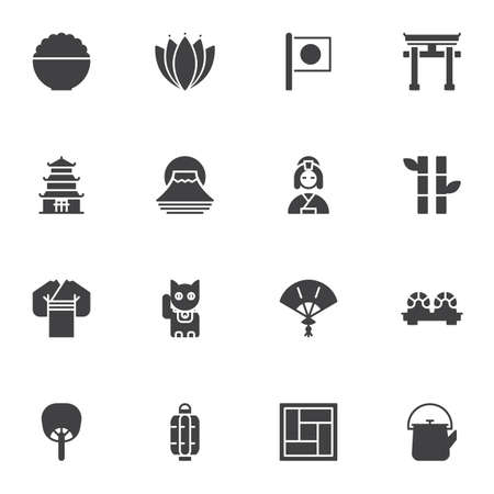 Japanese culture vector icons set, modern solid symbol collection, filled style pictogram pack. Signs, logo illustration. Set includes icons as geisha kimono, sushi roll, torii gate, flag of Japan
