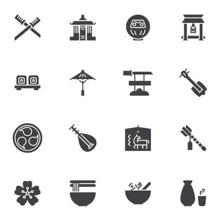 Japanese culture vector icons set, modern solid symbol collection, filled style pictogram pack. Signs, logo illustration. Set includes icons as samurai sword, umbrella, music instrument, noodle food Stok Fotoğraf - 147666835