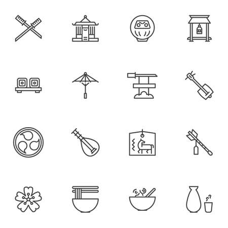Japanese culture line icons set, outline vector symbol collection, linear style pictogram pack. Signs, logo illustration. Set includes icons as samurai sword, umbrella, music instrument, noodle food