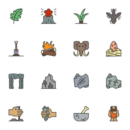Prehistoric age filled outline icons set, line vector symbol collection, linear colorful pictogram pack. Signs, logo illustration, Set includes icons as volcano eruption, mammoth animal, dinosaur egg