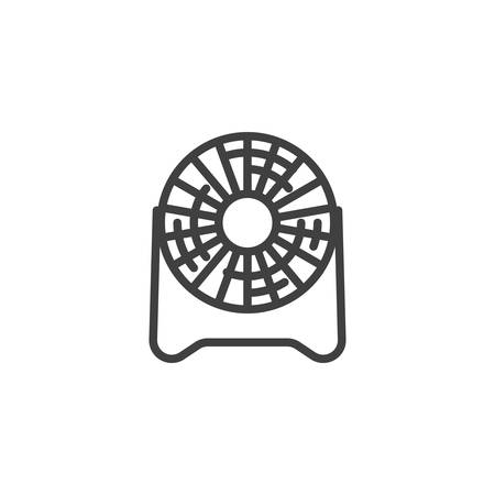 Floor fan line icon. linear style sign for mobile concept and web design. Electric ventilator fan outline vector icon. Symbol, logo illustration. Vector graphics