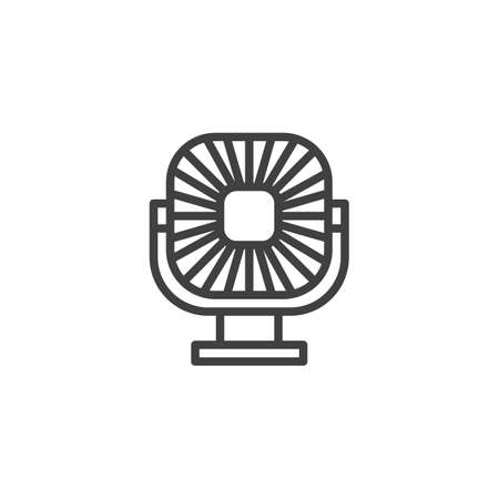Electric ventilator fan line icon. linear style sign for mobile concept and web design. Portable fan outline vector icon. Symbol, logo illustration. Vector graphics
