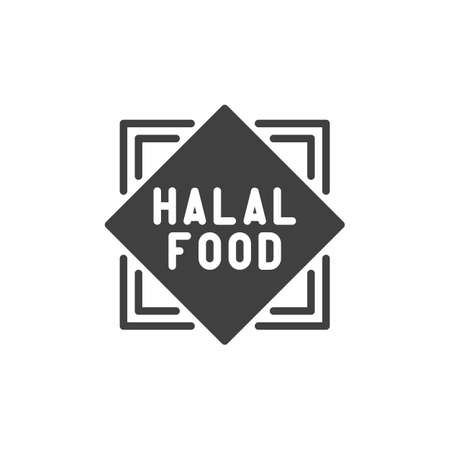 Halal food logo vector icon. filled flat sign for mobile concept and web design. Islamic Halal sticker glyph icon. Symbol, logo illustration. Vector graphics