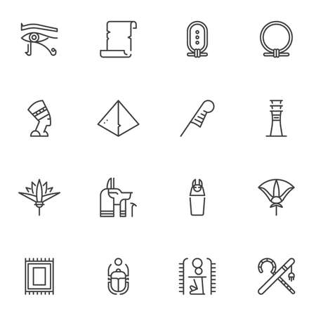 Egypt culture line icons set, outline vector symbol collection, linear style pictogram pack. Signs, logo illustration. Set includes icons as Nefertiti queen, feather pen, scarab , ancient, hieroglyph Logos