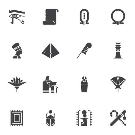 Egypt culture vector icons set, modern solid symbol collection, filled style pictogram pack. Signs, logo illustration. Set includes icons as Nefertiti queen, feather pen, scarab , ancient, hieroglyph