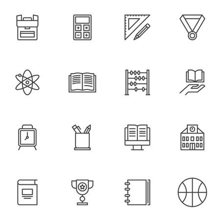 Education line icons set, outline vector symbol collection, linear style pictogram pack. Signs, logo illustration. Set includes icons as school bag, clock, online e-learning, book, sport, calculator