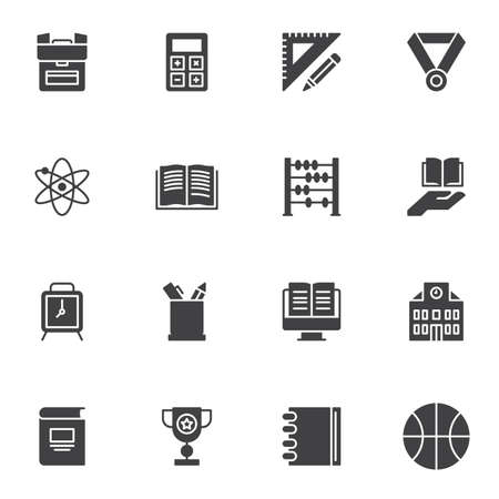 Education vector icons set, modern solid symbol collection, filled style pictogram pack. Signs, logo illustration. Set includes icons as school bag, clock, online e-learning, book, sport, calculator