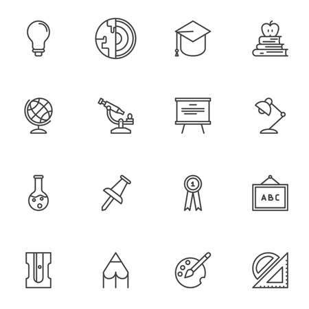 Education line icons set, science outline vector symbol collection, linear style pictogram pack. Signs, logo illustration. Set includes icons as lightbulb, geography, chemistry, blackboard, graduate