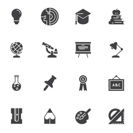 Education vector icons set, modern solid symbol collection, filled style pictogram pack. Signs, logo illustration. Set includes icons as lightbulb, geography, chemistry, blackboard, graduate 向量圖像