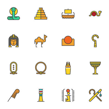 Ancient Egypt filled outline icons set, line vector symbol collection, linear colorful pictogram pack. Signs, logo illustration, Set includes icons as snake, camel, Egyptian queen, hieroglyph letter 矢量图像