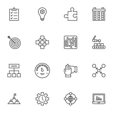 Productive work line icons set, outline vector symbol collection, linear style pictogram pack. Signs, logo illustration. Set includes icons as concentration, task list, idea inspiration, time control Ilustração