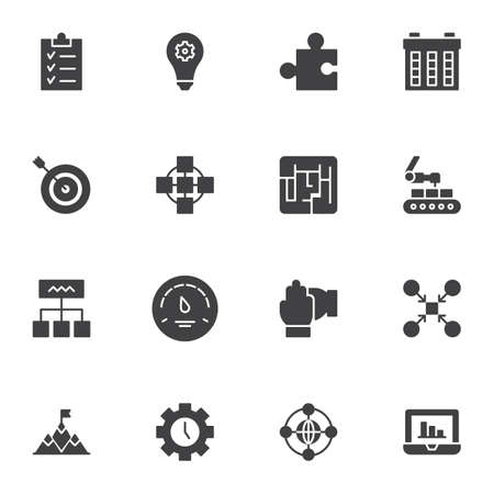 Productive work vector icons set, modern solid symbol collection, filled style pictogram pack. Signs, logo illustration. Set includes icons as concentration, task list, idea inspiration, time control Ilustração