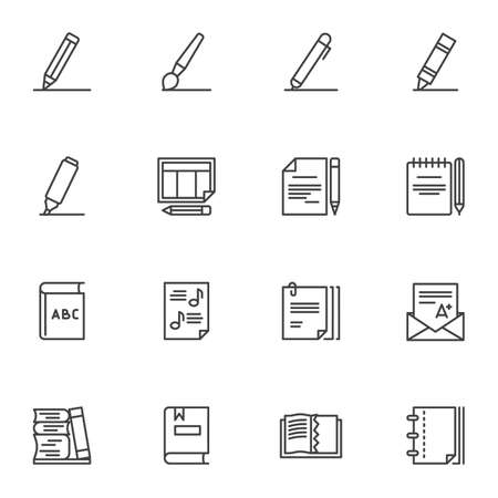 Education line icons set, writing and reading outline vector symbol collection, linear style pictogram pack. Signs, logo illustration. Set includes icons as pen, pencil, book, notebook, A-plus grade