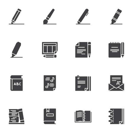 Education vector icons set, writing and reading modern solid symbol collection, filled style pictogram pack. Signs, logo illustration. Set includes icons as pen, pencil, book, notebook, A-plus grade