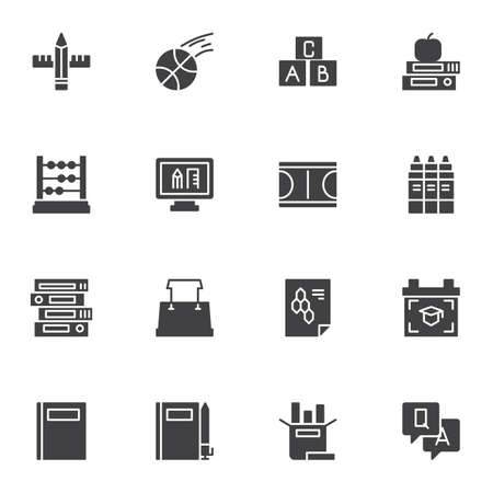 Back to school vector icons set, education modern solid symbol collection, filled style pictogram pack. Signs, logo illustration. Set includes icons as sport, book, folders, abacus, apple, pencil, pen Illustration