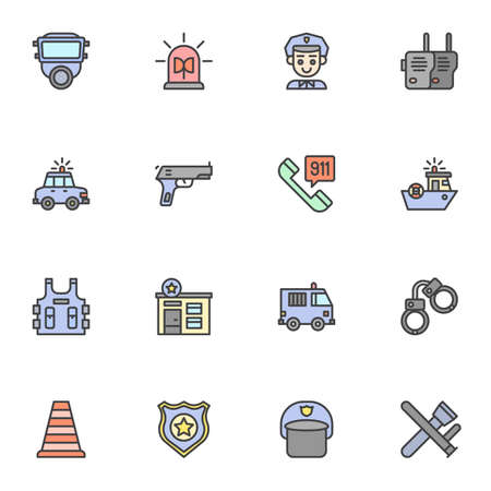 Police service filled outline icons set, line vector symbol collection, linear colorful pictogram pack. Signs, logo illustration, Set includes icons as emergency rescue, policeman helmet, body armor