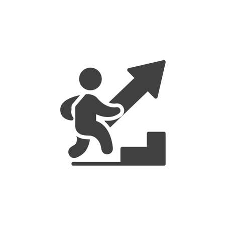 Homme escalade icône vecteur échelle de carrière. signe plat rempli pour le concept mobile et la conception web. Icône de glyphe de croissance de carrière d'affaires. Symbole, illustration du logo. Graphiques vectoriels