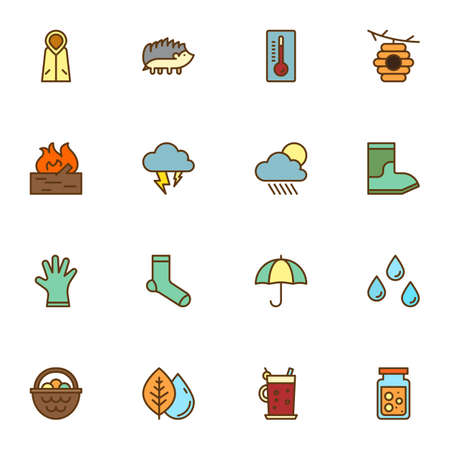 Autumn filled outline icons set, line vector symbol collection, autumn related linearly colorful pictogram pack. Signs logo illustration, Set includes icons - raincoat, rainy weather, umbrella, leaves