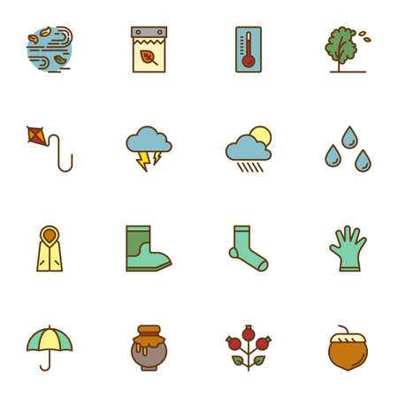 Autumn season filled outline icons set, line vector symbol collection, autumn linearly colorful pictogram pack. Signs logo illustration, Set includes icons - wind blow, calendar, rainy weather, coat