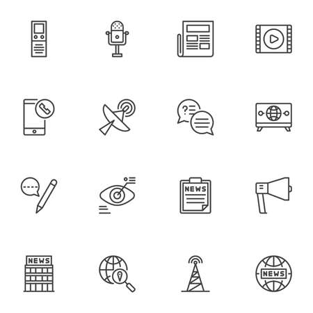 Media news line icons set, outline vector symbol collection, linear style pictogram pack. Signs, logo illustration. Set includes icons as radio microphone, newspaper, global broadcasting, monitoring