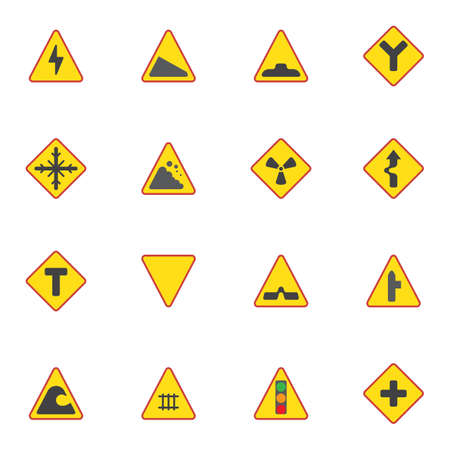 Temporary traffic restrictions elements collection, driving, prohibition signs flat icons set, Colorful symbols pack contains - stop information, road direction. Vector illustration. Flat style design