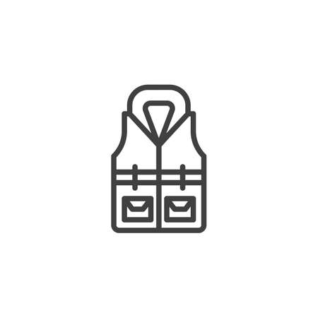 Life jacket line icon. linear style sign for mobile concept and web design. Safety jacket vest outline vector icon. Symbol illustration. Vector graphics