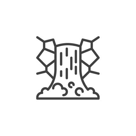 Cascade Waterfall line icon. linear style sign for mobile concept and web design. Mountain waterfall outline vector icon. Symbol illustration. Vector graphics