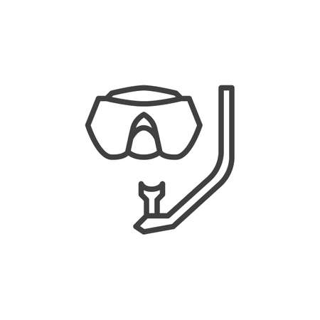Diving mask line icon. linear style sign for mobile concept and web design. Scuba mask and snorkel outline vector icon. Symbol, logo illustration. Vector graphics