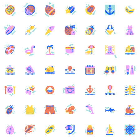 Summer travel elements collection, flat icons set, Colorful symbols pack contains - cruise ship travel, sunbed beach lounge chair, swimsuit, sailboat, drinks. Vector illustration. Flat style design