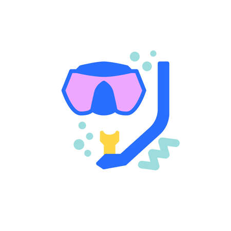 Diving mask flat icon, vector sign, dive scuba mask and snorkel colorful pictogram isolated on white. Symbol, logo illustration. Flat style design