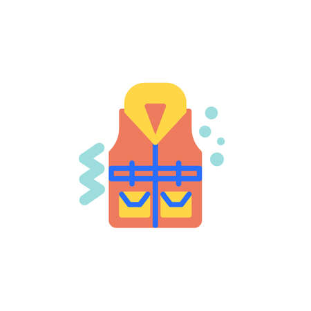 Life vest flat icon, vector sign, Life Jacket colorful pictogram isolated on white. Symbol, logo illustration. Flat style design
